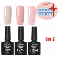 3 Bottles 12ml LEMOOC UV Gellack Pink Nagel Art with 10pcs Gel Remover Pad Free