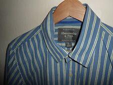 Camisa para hombre A&F Abercrombie & Fitch Músculo Manga Larga Azul a Rayas Talla L Grande