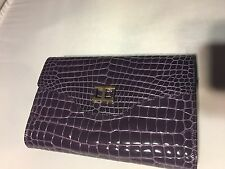 RAPHAEL Genuine Crocodile Purple CLUTCH With Strap Handbag
