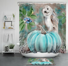 Watercolor Autumn Pumpkin Cute White Owl Waterproof Polyester Shower Curtain Set