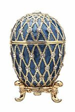 Decorative Faberge Egg / Trinket Jewel Box with Grid 2.8'' (7 cm) blue