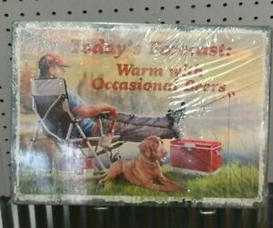 """Today's Forecast Warm With Occasional Beers Fishing Tin Wall Sign 16.75""""x12"""""""