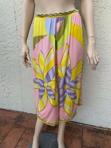VINTAGE EMILIO PUCCI GORGEOUS MULTI COLORED SILK JERSEY SIGNED SKIRT