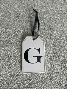 Next Decorative White Ceramic Black Personalised 'G' Letter Hanging Tags NEW