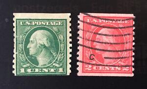 US Sc# 452, 455 1c, 2c Coils Used 1914-1915