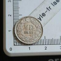 I08408 demi franc suisse 1951 pièce de monnaie argent silver coin