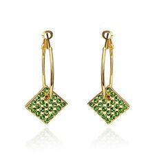 "Aaa Zirconia French Clip .84"" L299 18K Gold Plated Green Earrings Drop Dangle"