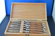 6 Laguiole de Baladeo Steakmesser m. Schalen aus Olivenholz - Klingen poliert