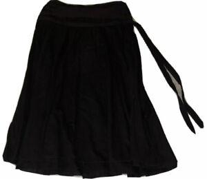 H&M Black Pleated Midi Skirt 100% Cotton Size 8
