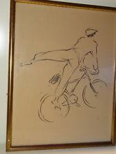 Lithographie ou dessin humoristique signé Vertes Maurice Cycliste Velo 1930
