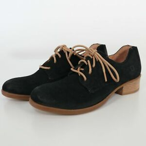 Born Oxford Shoes Mott Womens 10 Black Distressed Suede Leather Lace-Up Comfort