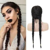 1X Synthetic Braids  Front Wig With Baby Hair Long Black Double Braided Wigs
