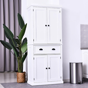 White Kitchen Cupboard Country Cabinet Pantry Storage Unit Buffet Rustic Dresser