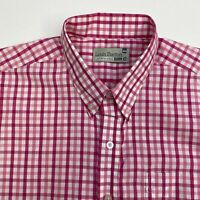 Louis Barton Button Up Dress Shirt Men's Size 44 Short Sleeve Pink White Check