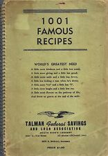 *CHICAGO IL ANTIQUE 1001 FAMOUS RECIPES COOK BOOK *TALMAN FEDERAL SAVINGS & LOAN