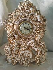 Large Vintage Narco Cherub Mantel Shelf Clock With Lanshire Movement Lusterware?