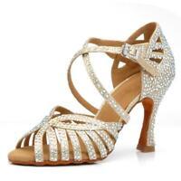Scarpe da ballo latino donna strass argento sandali su misura salsa tessuto oro