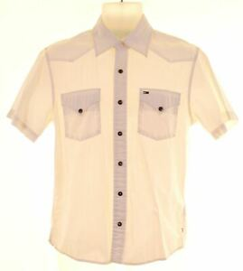 TOMMY HILFIGER Mens Shirt Short Sleeve Medium White Cotton HY02