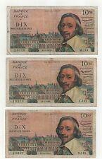 3 billets 10 nouveau francs richelieu