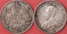 Very Fine 1934 Canada Silver 10 Cents