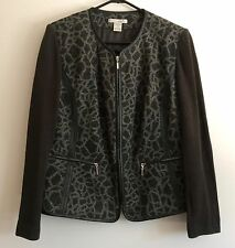 PETER NYGARD JACKET - SWEATER ANIMAL PRINT ZIP UP WOMEN'S OX (GRAY & BLACK)