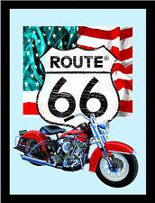 Route 66 Bike US Flag Nostalgie Barspiegel Spiegel Bar Mirror 22 x 32 cm