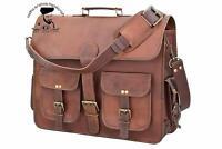 Men's Genuine Leather Cowhide Brown Crossbody Shoulder Satchel Messenger Bag.