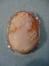 Vintage  Victorian 14KT White Gold Carved Shell Cameo Pin/Necklace