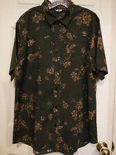 Vans Mens Short Sleeve Button Down Shirt Floral Design Gray Size XL