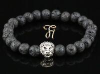 Lava - silberfarbener Löwenkopf - Armband Bracelet Perlenarmband 8mm