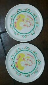 """VTG 1983 OAA Inc HG Industries Cabbage Patch Kids 2 Plastic Toy Plates 4"""""""