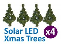 Christmas Path Tree 4 Pack Decorative Outdoor Garden with Solar White LED Lights