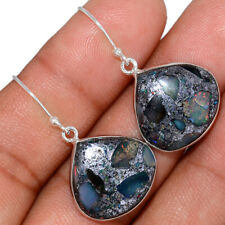 Sterling Silver Earrings Jewelry Ae133216 New listing Ethiopian Opal In Pyrite 925