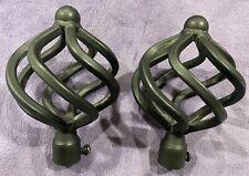 "Black Iron Twisted Birdcage Finials (2) for 1/2"" Iron Drapery Rod, Curtain Rod"