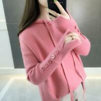 Ladies Autumn Hooded Knitted Sweater Winter Loose Casual Pullover Fashion Tops
