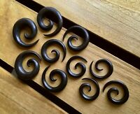 PAIR Black Areng Wood Spiral Tapers Organic Plugs Tunnels Earlets Gauges