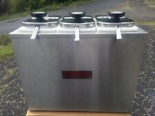 New: Cecilware 3 bin topping bar, with ladles. Nsf, Stainless, Dispenser