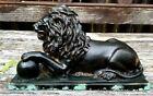 Antique 19thC Majestic Newel Post Bronze Lion Topper