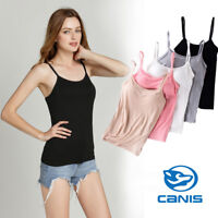 Girls Womens Strap Built In Bra Padded Self Mold Bra Tank Top Camisole Cami Hot