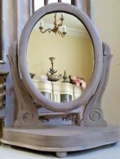Vintage French Shabby Chic Dressing Table Top OVAL Swivel MAHOGANY Stand Mirror