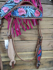 WESTERN HEADSTALL BREASTCOLLAR TURQUOISE BLUE PINK FRINGE HORSE LEATHER BRIDLE
