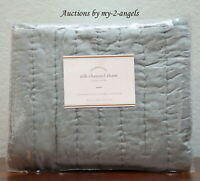 Pottery Barn Euro Pillow Sham Celeste Stripe Quilted 26 X
