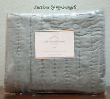 NEW Pottery Barn SILK CHANNEL Two-Toned Quilt-ed Euro Sham PORCELAIN BLUE