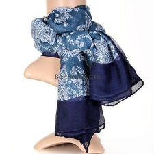 Fashion Warm Blue Flower Print Floral Cotton Cape Scarf Wrap Shawl Women's