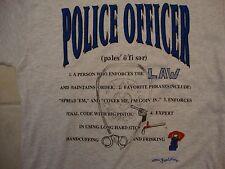 Vintage Police Officer Law Enforcer Gray Cotton T Shirt Size L