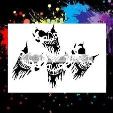 4 Skulls Design Airbrush Stencil,Template