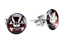 CRAZY RABBIT & CROSSBONES LOGO STUD EARRINGS 8mm 1 X PAIR MENS / WOMENS