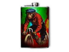 Monkey Riding a Bike Decorated Stainless Steel Flask 8oz FN488