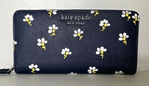 New Kate Spade Cameron Large Continental wallet Leather Daisy Toss Nightcap