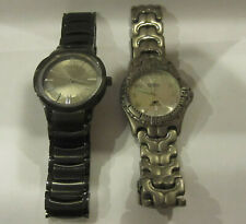 Lot of 2 Men's Fossil Watches Titanium Blue and Stainless Steel NEED BATTERIES